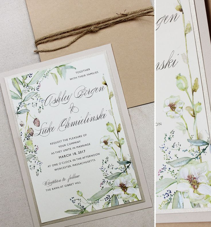Ashley B.   Botanical Watercolor Wedding Invitations