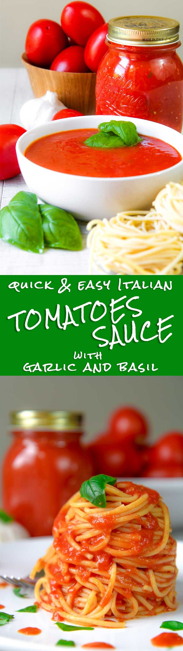 EASY TOMATOES SAUCE ITALIAN WAY with garlic and fresh basil - This Easy tomatoes sauce is so tasty and fast to prepare! Tomatoes are cooked along with garlic and sweet basil, just the time to soft them. The more tomatoes are ripe, the more sauce will be delicious! To prepare this recipe a vegetable mill is not mandatory, but I strongly suggest to use it. A blender works fine as well, but the sauce texture will be not the same! TAGS: vegan, healthy, Italian, recipes, family, dinner