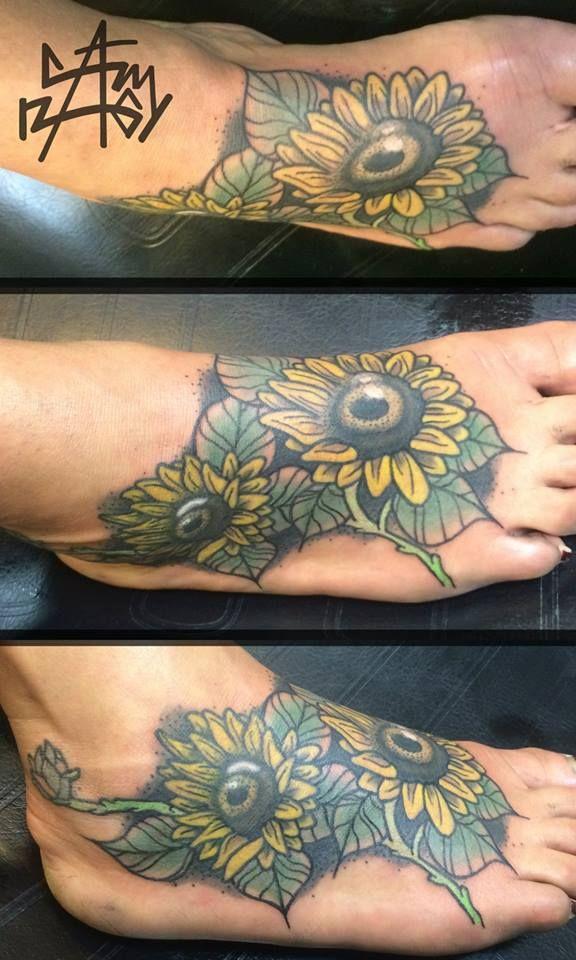 Sunflower foot tattoo by Adam Nagy #foottattoo #sunflowertattoo #sunflowers