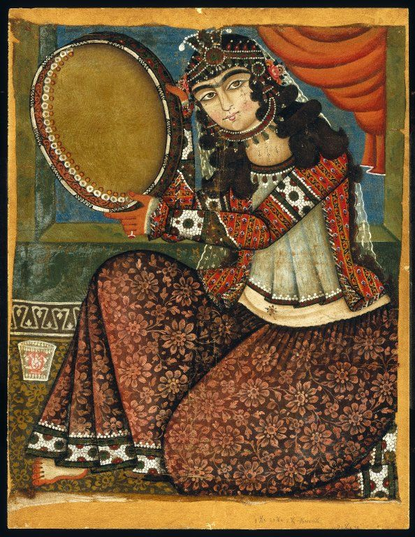 Medium: Oil painting Dates: 19th century Dynasty: Qajar Period: Qajar Dimensions: Frame: 35 x 27 in. (88.9 x 68.6 cm) Painting: 30 x 24 in. (76.2 x 61 cm)  (show scale) Collections:Arts of the Islamic World