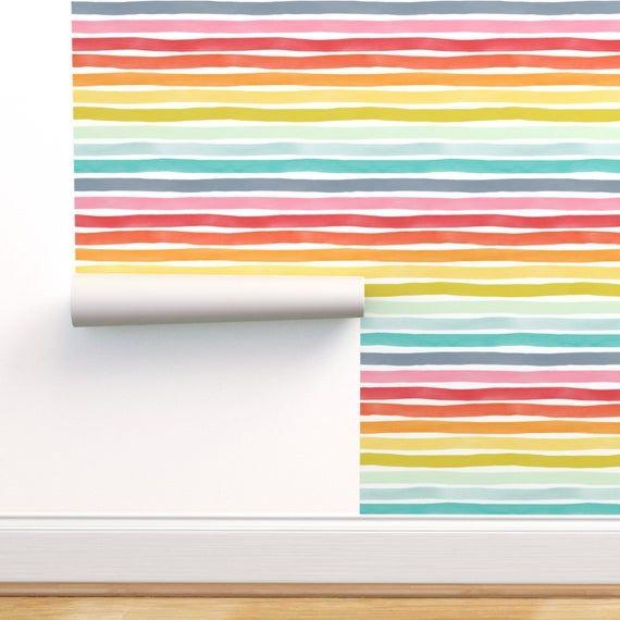 Rainbow Stripe Wallpaper Watercolor Stripes Mm Rainbow By Etsy Striped Wallpaper Self Adhesive Wallpaper Rainbow Stripes