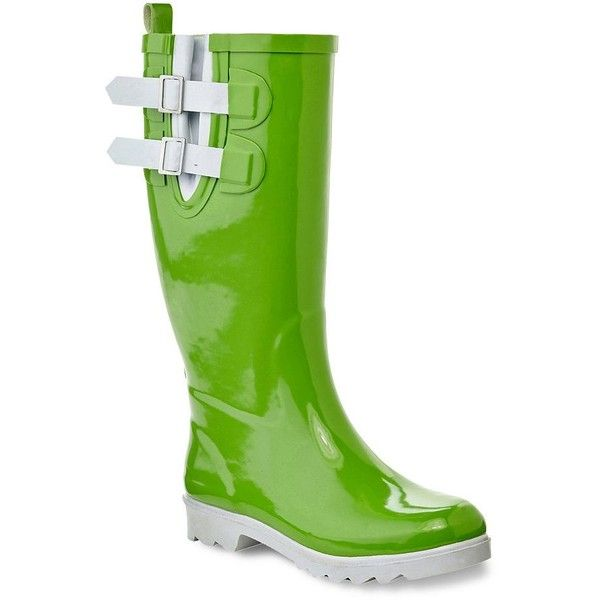 Henry Ferrera Black Stone Women's Water-Resistant Rain Boots ($54) ❤ liked on Polyvore featuring shoes, boots, green, black wellington boots, water resistant boots, wellies boots, black rain boots and slip on boots