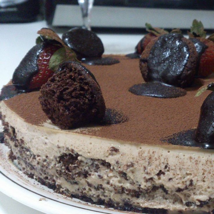 A delightful combination of layers of light moist chocolate cake and light coffee creme.