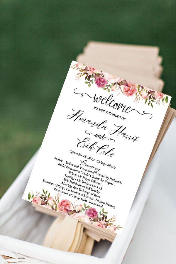 Boho Wedding Program Fan Template