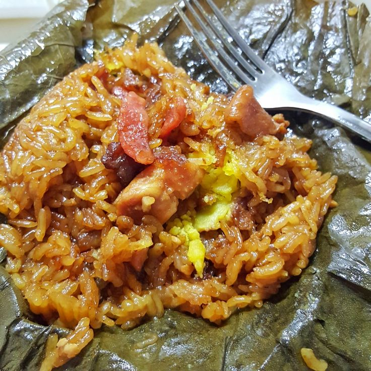Sticky Glutinous Rice with Chicken wrapped in Lotus Leave - eckitchensg