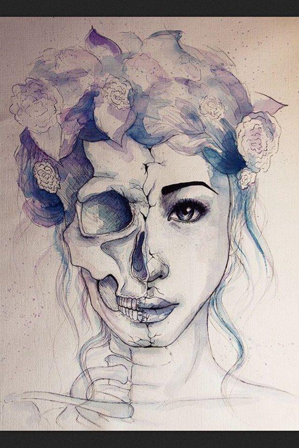 art, colors, drawing, flowers, pastel, skeletton, sketch, soft grunge, water paint, skull & bones, soft grunge pastel