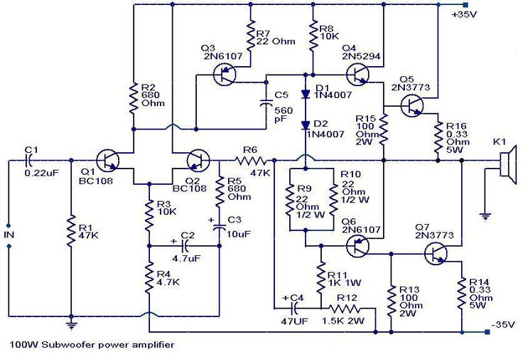 100 watts subwoofer lifier circuit diagram technical wiring diagram