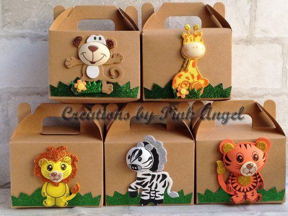 6 PARTY TREAT BOXES ZOO ANIMALS FAVOR GOODY BAG BIRTHDAY CARNIVAL SAFARI BOX