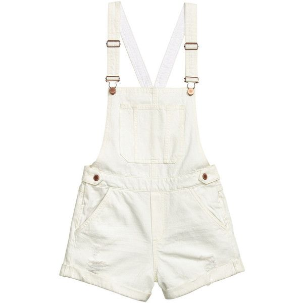 H&M Bib Overall Shorts $17.99 (59 PEN) ❤ liked on Polyvore featuring shorts, bottoms, white distressed shorts, pocket shorts, white overall shorts, white short overalls and ripped shorts