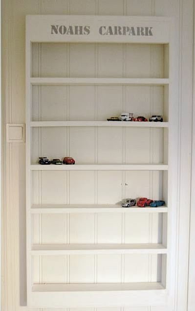 "DIY: ""Carpark"" shelves for storing toy cars. this would be perfect for my son."