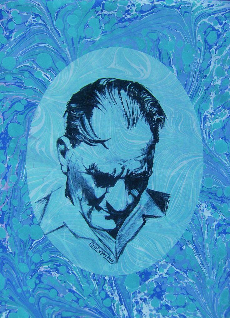 Üzeri şal ebru ile baskılı, battal ebru çerçeveli Atatürk portresi.