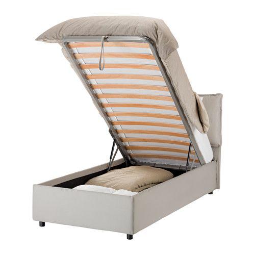 GRESSVIK Struttura letto con contenitore - sabbia - IKEA