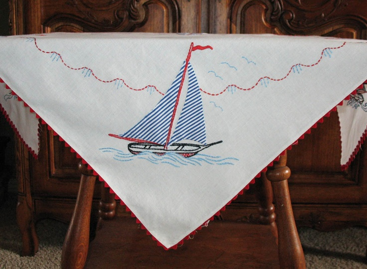 Vintage, Nautical Themed, Sailboats 30 U201cx 30u201d Cotton Table Cloth/Topper