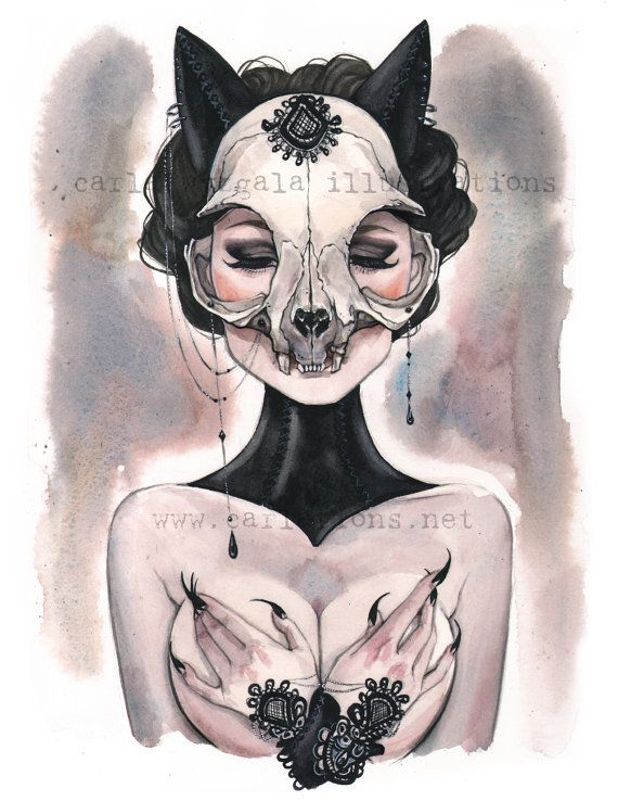 Lady of the Black Cat animal skull watercolor Art print Carla Wyzgala carlations