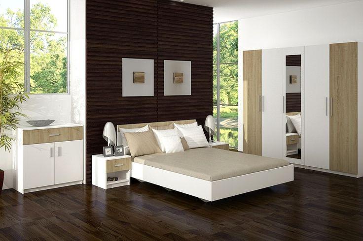 Ložnice Alex - kombinace bílé a dřeva působí uklidněně...