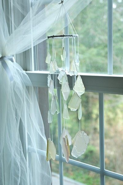 Tulle Window Draping, Seaglass Wind Chime~❥