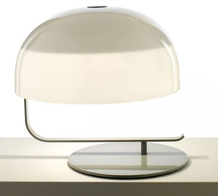 Marco Zanuso; #275 Polished Metal and Plexiglass Table Lamp for O'Luce, 1965.