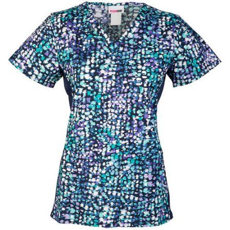 58470519539 Scrubstar Women's Fashion Collection A Colorful Impression Flexible V-Neck  Printed Scrub Top, Blue