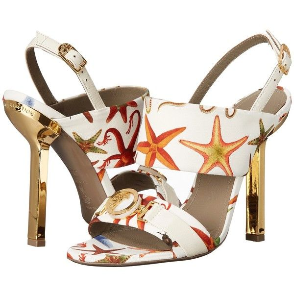 Versace Collection Oro Bizantino Printed Open Toe Heel (Multi Bianco)... ($695) ❤ liked on Polyvore featuring shoes, pumps, white, slip-on shoes, white high heel pumps, white high heel shoes, open-toe pumps and high heel shoes