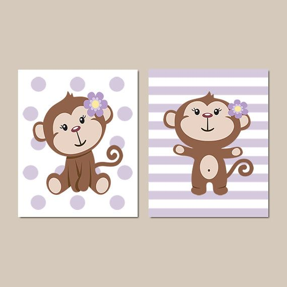 Baby Girl Monkey Theme Nursery Girl Nursery Decor Lilac