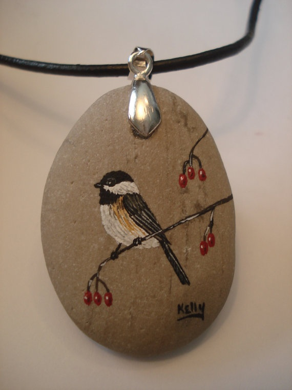 Necklace  Chickadee hand painted on a stone by wildstonepainter, $20.00