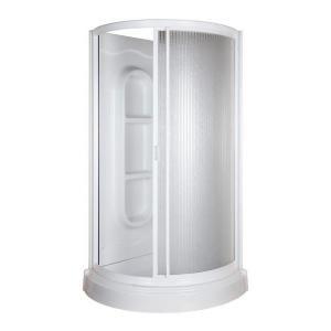 ASB 34 in. x 34 in. x 78 in. Round Shower Kit in White