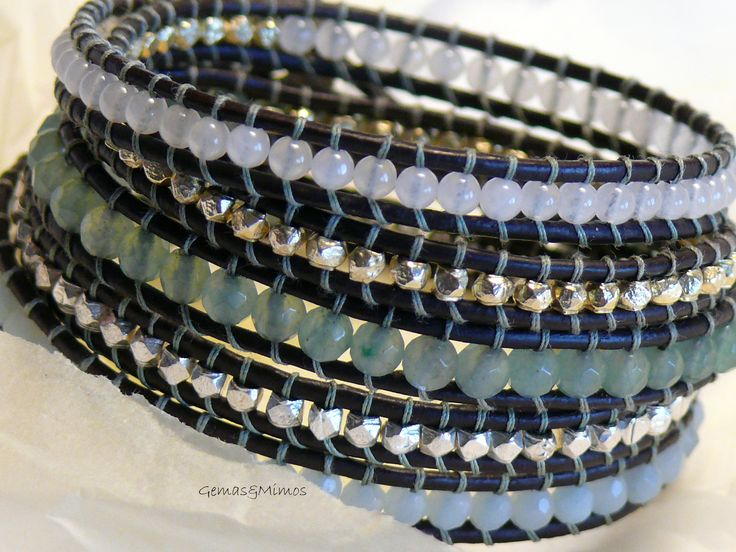 Jade, aventurina y amazonita #jewelry #handmade #gemstones #joyeria #hechoamano #artesania #piedras #wraps #leather #cuero
