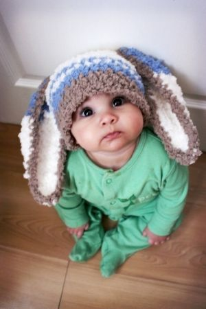 2T to 4T Bunny Hat Stripe Childs Beanie - Crochet Toddler Hat in Brown, Lagoon Blue, Cream - Easter Bunny Ears - Rabbit Hat - Photo Prop by daphne