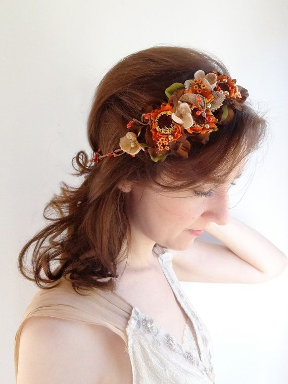fall wedding hair accessories, fall headband, flower crown, autumn wedding, floral headpiece, brown flower for hair, burnt orange, brown