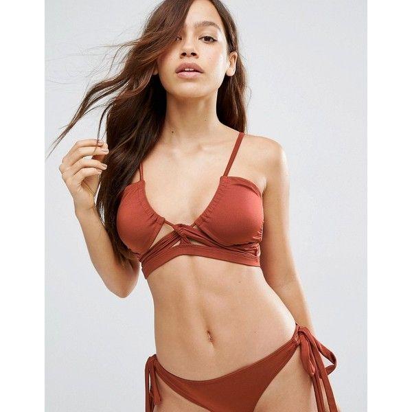 ASOS Gathered Lace Up Bikini Top ($26) ❤ liked on Polyvore featuring swimwear, bikinis, bikini tops, brown, swimsuit tops, swim bikini, brown tankini top, brown bikini and swim suit tops