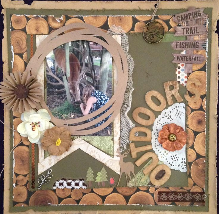 OUTDOORS - $20 Scrapbooking Kit. A great page for anything outdoors eg. camping, tramping, hunting etc. Everything you need to create this page is included in the kit.  Email Deborah kitsandbits1@gmail.com or text 0274303781 New Zealand #scrapbooking
