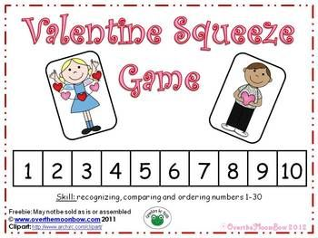 number squeeze game: Math Games, Squeezed Games, Free Valentines, Number Games, February Ideas, Valentines Squeezed, Valentine'S S, Numbers Games, Schools Valentines