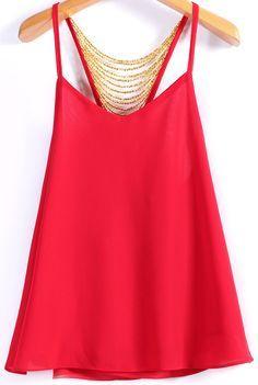 Spaghetti Strap Bead Decoration Chiffon Red Vest
