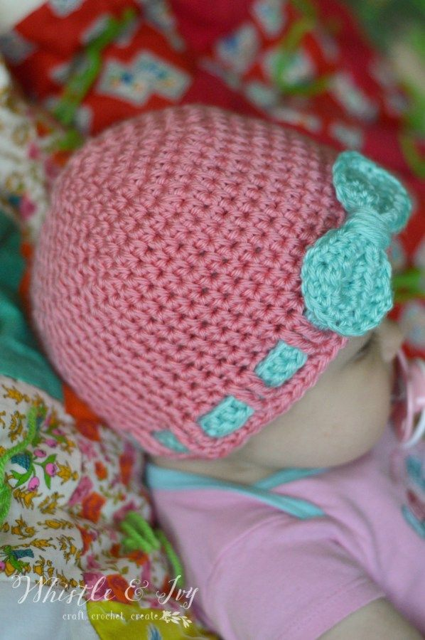 Crochet Hair Ribbon Pattern : Free Crochet Pattern- Faux Ribbon Baby Hat. Make this cute and easy ...