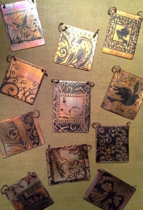 Etched copper pendants