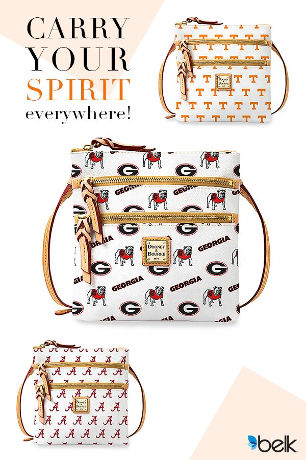 Show off your school spirit with this triple zip crossbody handbag from Dooney & Bourke! Crafted with an adjustable leather strap and room for all of your tailgating essentials or workday necessities, it's ideal for the stylish fan's accessory collection. From Alabama to Tennessee, find your favorite schools plus NFL teams online at Belk.com.