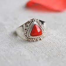 #Coral #gemstone helps the women who desires for children. Buy this #coral embedded in #sterling #silver #ring at http://bit.ly/2jLzz0o