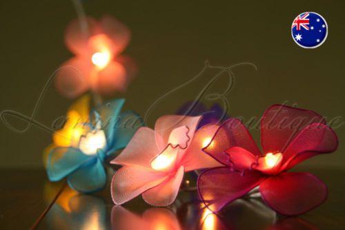20-MULTICOLOURED-Nylon-Orchid-Flower-LED-String-Fairy-Lights-Childs-Night-Light