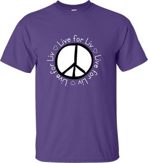 Because October is National Domestic Violence Awareness Month, these shirts are on sale to benefit the Live For Liv Foundation, a local oranization raising awareness of domestic violence. Olivia Marchand was only 17 when she was taken from us from a domestic violence dispute. Help to remember what a beautiful young girl she was and raise money for her organization. Original design by Shannon Ouellette.