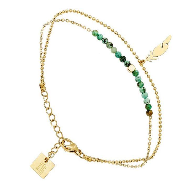 Bracelet plume et pierres (doré jaune)