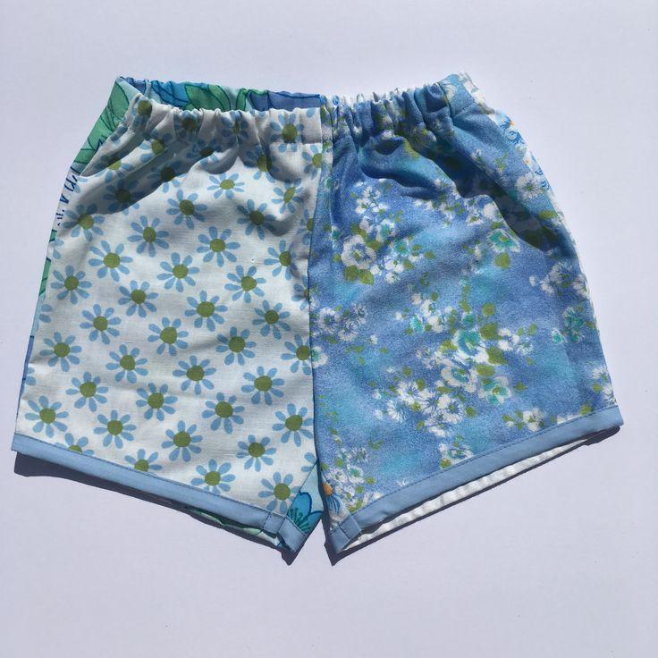 Girls shorts vintage floral fabric boho blue upcycled sustainable fashion @lueysmum