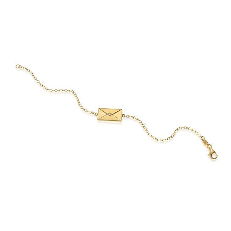 """""""Love Letter"""" silver bracelet, gold plated with a polished finish and a diamond. For engraving in the back of the letter, please add your message, name or word in your order."""