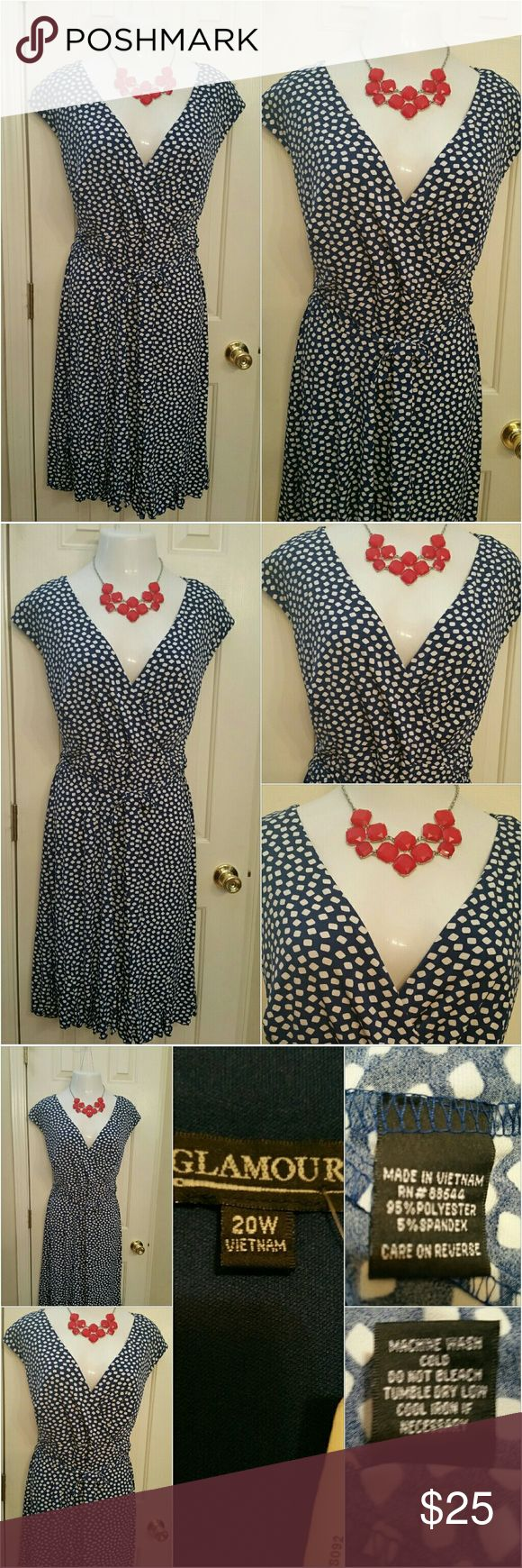Women plus size Dress Glamour Women plus size blue and white belted dress. Ruffle at the hem . Excellent condition. NWT.  Can be worn at the office.  church, and special events. Size 20W  Measurement  Shoulder to shoulder 21inch Bust 21inch  Waist 21inch  Length 43inch Glamour & Co. Dresses Midi