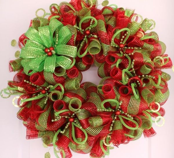 Christmas Deco Mesh Wreath by nell                                                                                                                                                     More