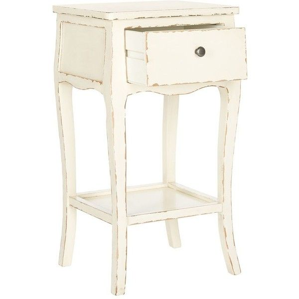 Safavieh Thelma End Table (White) ($221) ❤ liked on Polyvore featuring home, furniture, tables, accent tables, white, wood side table, white wood shelves, white shelf, white end table and wood end table
