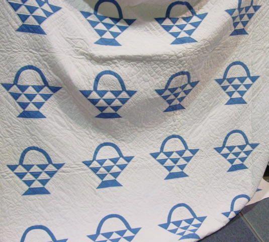 Blue and white quilts | Blue and White Pieced Cherry Basket Quilt SOLD | Cindy Rennels Antique ...