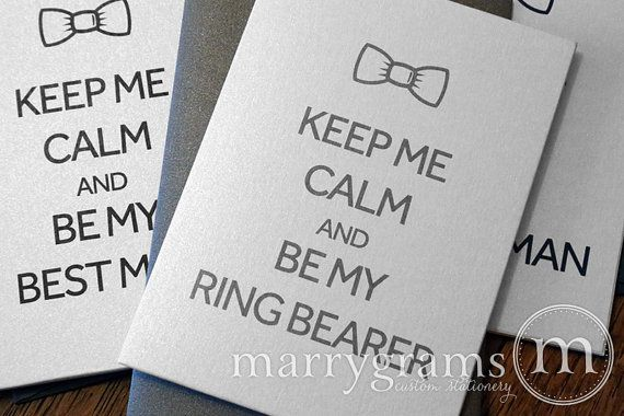 Will You Be My Groomsman Cards - Keep Me Calm & Be My Best Man, Guy's Wedding Party- Fun Way to Ask Usher, Officiant, Ring Bearer (Set of 4)