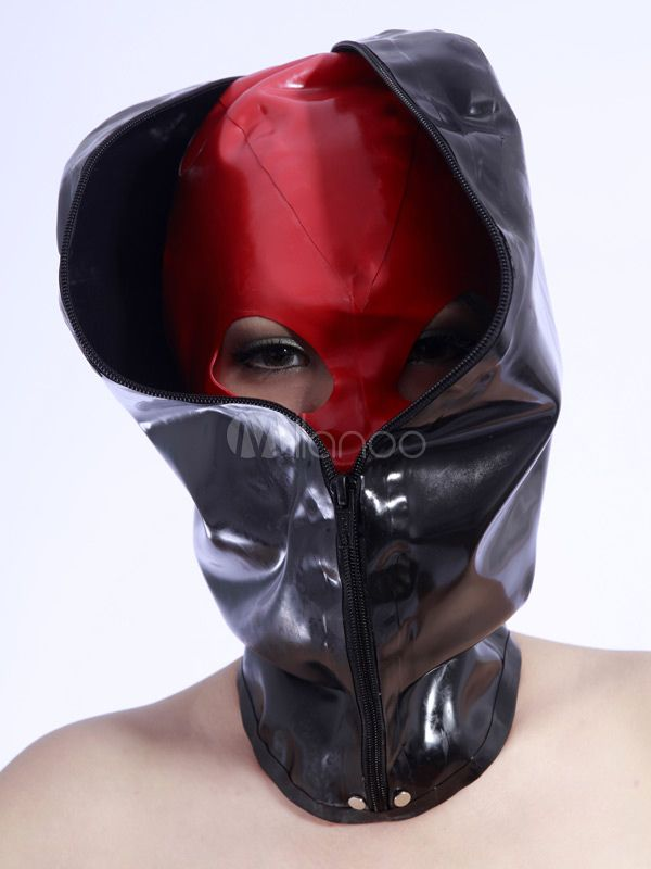 Halloween Cool Black Zipper Latex Unisex Catsuits & Zentai Hood