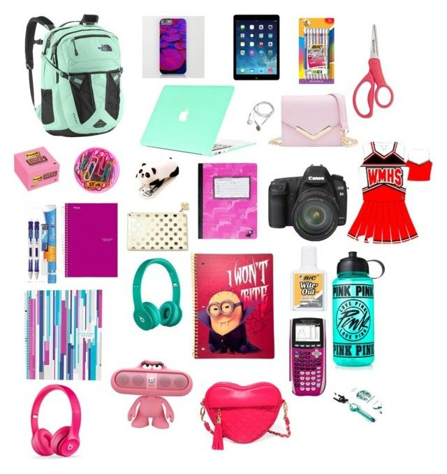 """My dream back to school list"" by pamfox1025 on Polyvore featuring Post-It, Kate Spade, Paper Mate, Cynthia Rowley, Eos, Wite, Victoria's Secret PINK, BIC, Beats by Dr. Dre and The North Face"