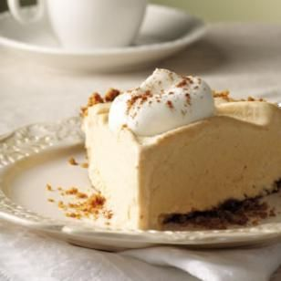 Try this recipe for Frozen Pumpkin Mousse Pie. Surprise your friends and family with a frozen pie this year- it might just become one of their holiday favorites. #thanksgiving